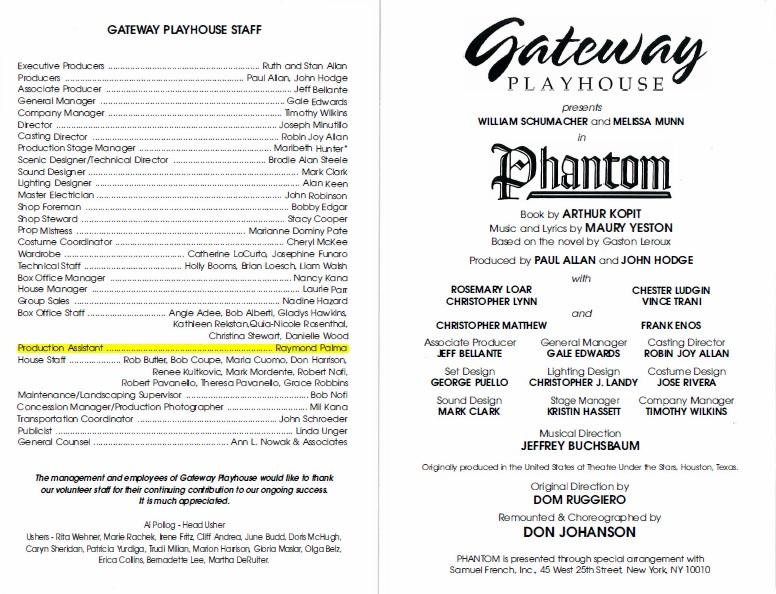 Gateway Playhouse Phantom Production Playbill